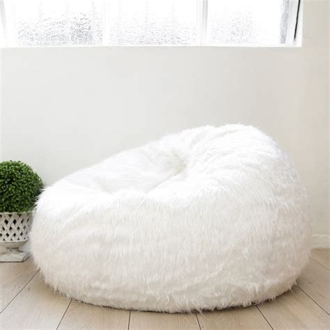 big fluffy bean bag fur bean bag white ivory deene ivory deene pty ltd