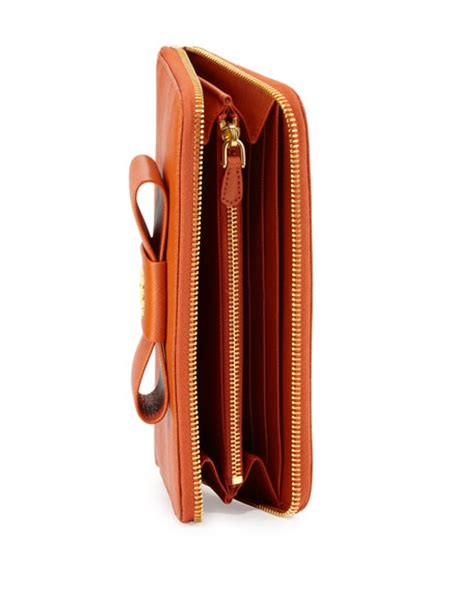 Prad Org Address Search Prada Saffiano Bow Zip Around Wallet Orange Papaya