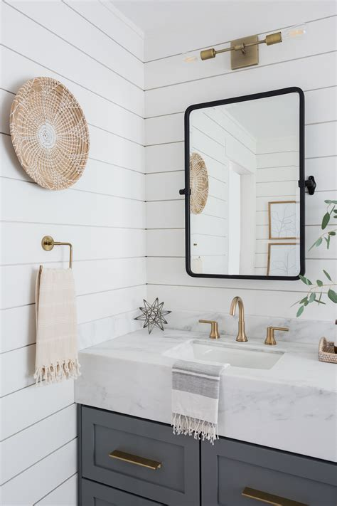 Shiplap Bathroom by Light Airy Bathroom With Shiplap Patterned Tile Mixed