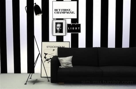Black Dining Room Set Black Amp White Striped Wall At Sim Mu 187 Sims 4 Updates