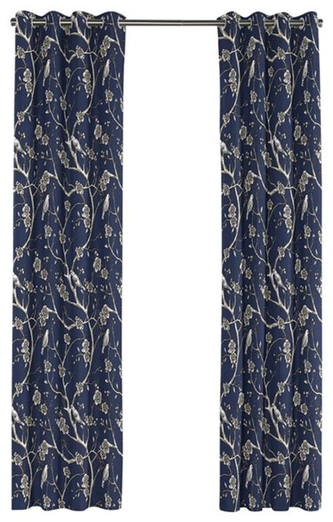navy blue grommet curtains navy blue chinoiserie grommet curtain contemporary
