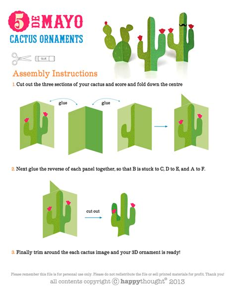 Moustache Happythought Printable Paper Crafts Paper Cactus Template
