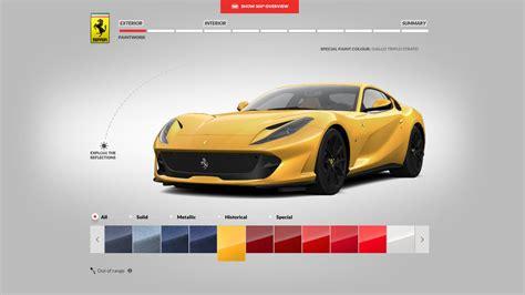 Ferrari Configurator by Ferrari 812 Superfast Configurator Will Make You Rob A Bank