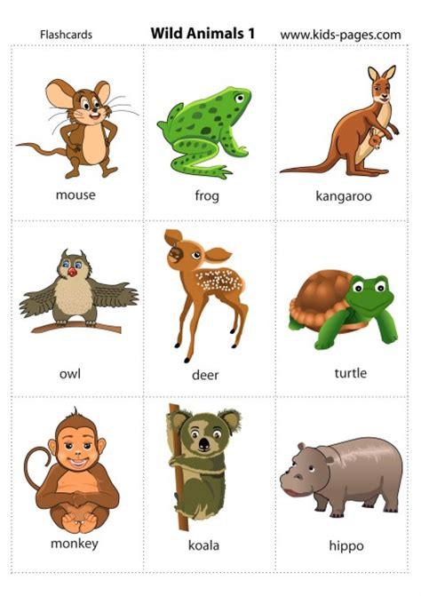 printable animal flash cards wild animals 1 flashcard