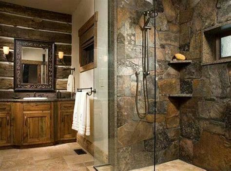 rustic bathroom tile stone shower beautiful creations pinterest