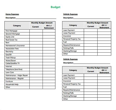 personal monthly budget form budget sheet template 9 free sles exles format