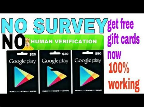 get free google play cards without human verification