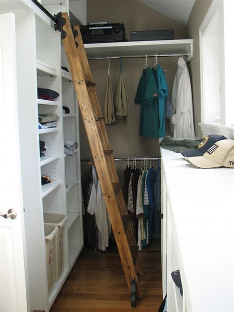 Rolling Closet Ladders rolling library ladder traditional closet by custom
