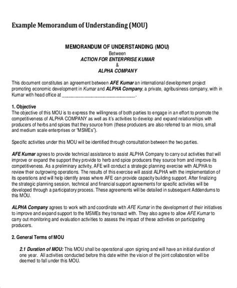 8 Memorandum Sles Sle Templates Memorandum Of Understanding Template