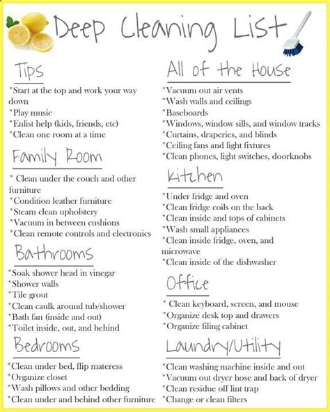 deep cleaning house checklist deep cleaning list cleaning tips pinterest