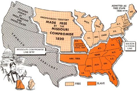 map of united states 1820 the missouri compromise