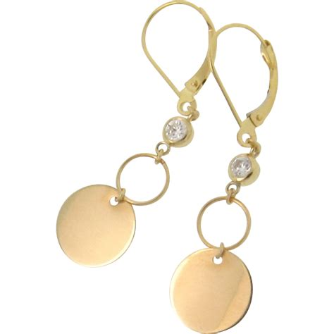 Circle Dangle Earring 14k gold circle dangle earrings with cubic zirconia from