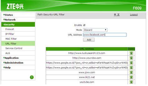 Modem Jember cara mudah blokir situs di modem zte f609 f660