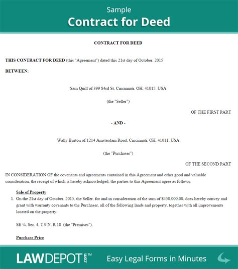 buying house on contract land contract forms free contract for deed form us lawdepot