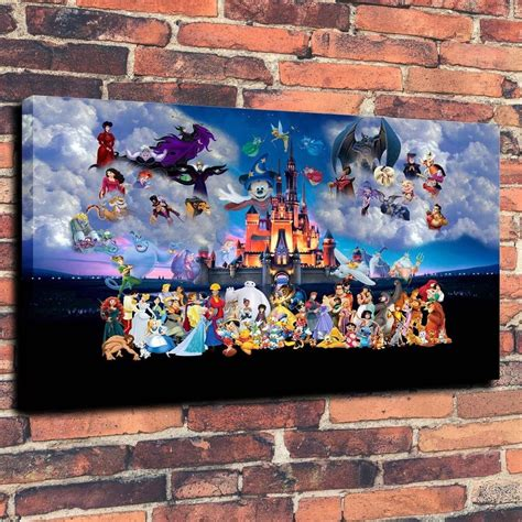 canvas print painting castle disney characters wall home decor ebay