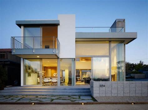 contemporary 2 story house design with deck part of home