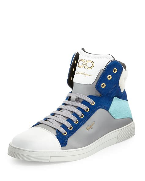 ferragamo sneaker ferragamo stephen 2 calf hair high top sneaker in blue for