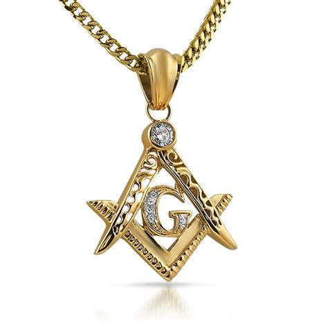 gold masonic symbol free cz stainless steel pendant