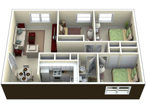 the verdant apartments one two and three bedroom 3d image for the 3 bedroom floor plan