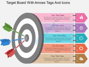 ew target board with arrows tags and icons flat powerpoint