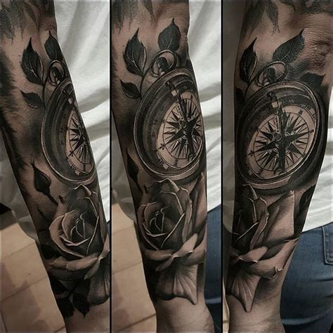 dotwork rose compass tattoo on left arm by daniel rozo compass tattoo map tattoos on instagram tattoo arm