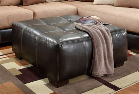 Large Square Tufted Dark Brown Bonded Leather Ottoman Large Brown Leather Ottoman