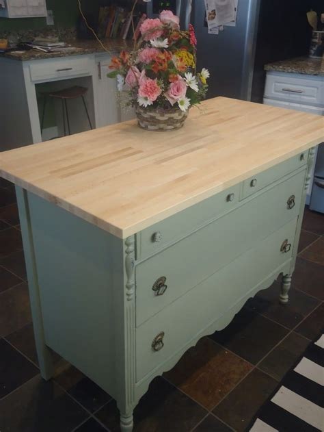 how to turn an dresser into a kitchen island
