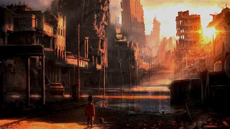 ruins scenic artwork post apocalyptic afternoon wallpaper