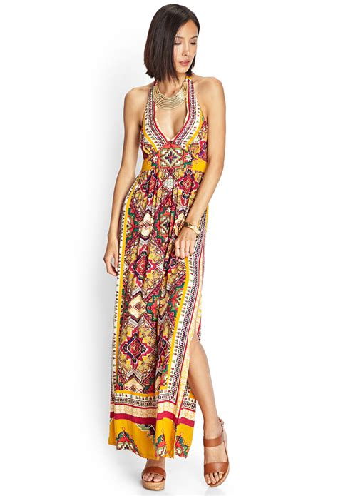 21 tribal print maxi dress in multicolor yellow pink