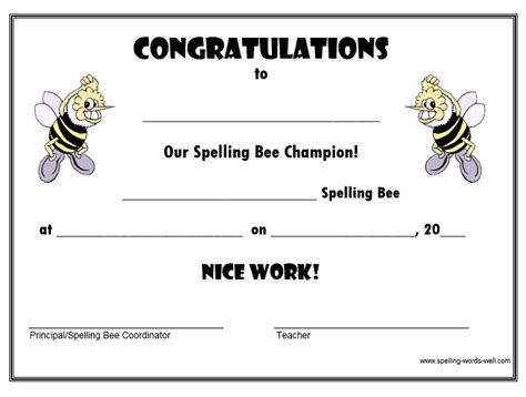 spelling bee certificate free download images