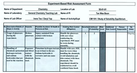 general risk assessment exle template update234 com