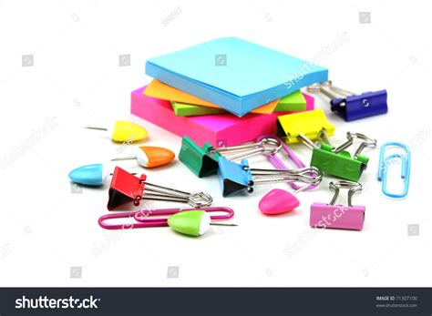 colorful office supplies colorful office supplies on white background stock photo