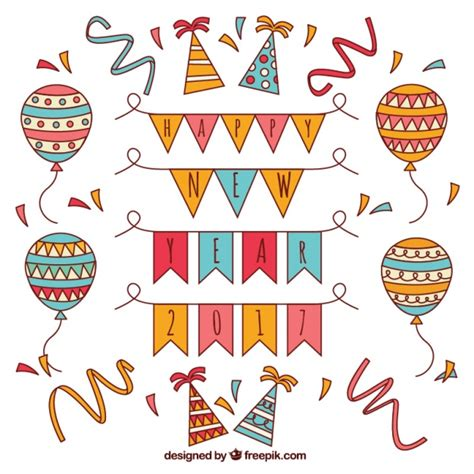 new year elements vector free collection of balloons and new year