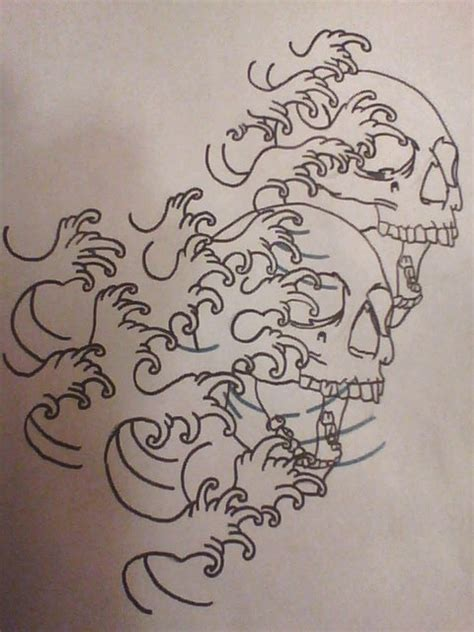 wave outline tattoo unfinished custom japanese waves with skulls by