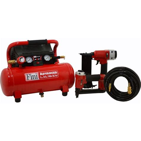 fini 2 gal 110 psi portable electric air compressor with 2 nailer combo kit f2g2pak the home