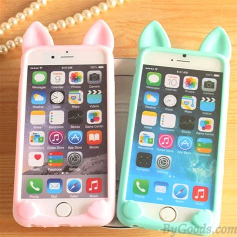 Silicone Softcase For Iphone 4 4s 5 5s 6 6s6 Plus 6s Plus cat ears lovely animals iphone 4 4s 5c 5 5s 6 6p cases soft silicone iphone cases bygoods