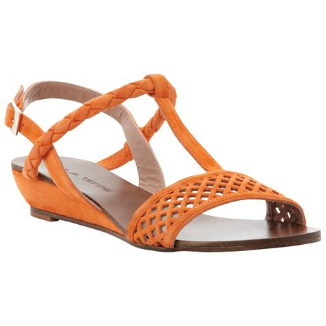 orange wedge sandals pied a terre liddy low wedge sandal in orange lyst