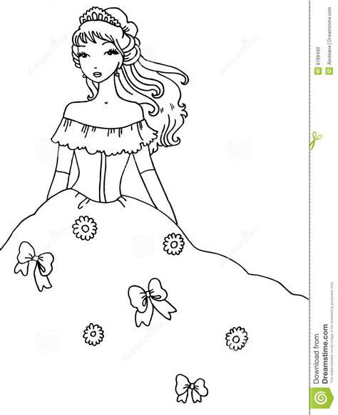 princess coloring page stock photo image