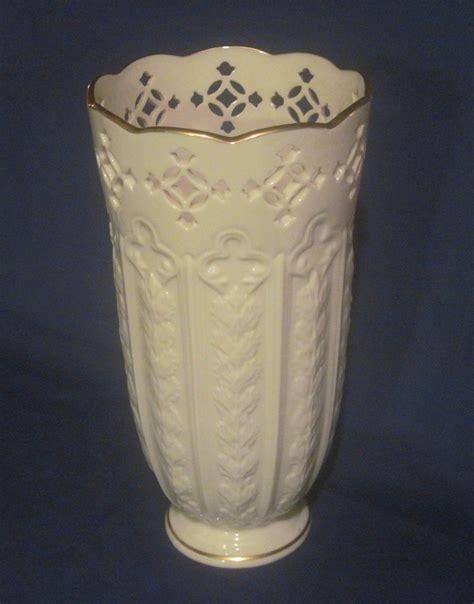 lenox fleur de lis pierced vase 9 5 inch ivory gold vases