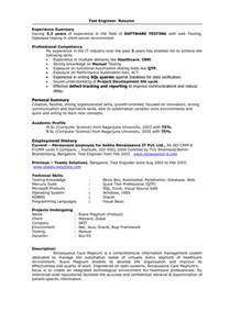 Performance Resume Sle by Test Engineer Sle Resume