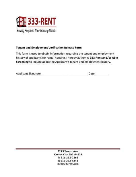 Background Check Authorization Form For Tenant 91 Employment Verification Release Form Sle