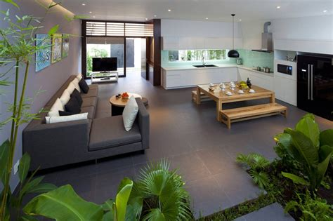 a fresh home with open living area courtyard