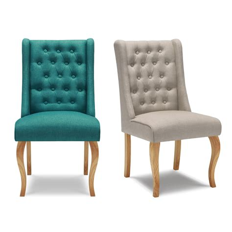 Upholstered Accent Chairs Living Room Ikayaa Antique Style Tufted Kitchen Dining Chair Linen Fabric Accent Chair Upholstered Side