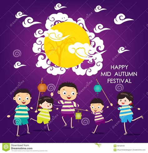 mid autumn festival background with happy kids playing