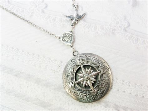 Necklace By silver compass locket necklace travel locket necklace by