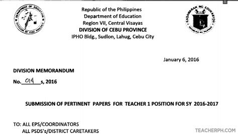 application letter for in tle deped cebu province 2016 ranking of i applicants