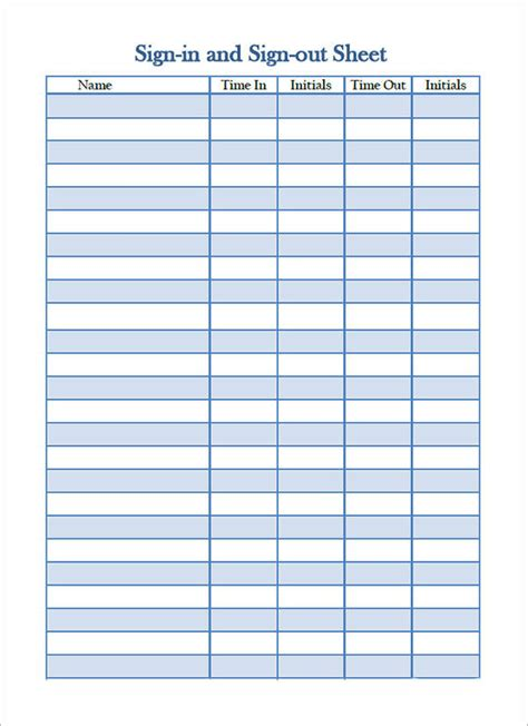 34 Sle Sign In Sheet Templates Pdf Word Apple Pages Sle Templates Free Sign In Sheet Template