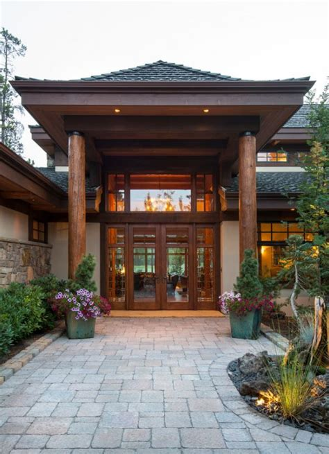 asian entry pagoda style roof  large wood post