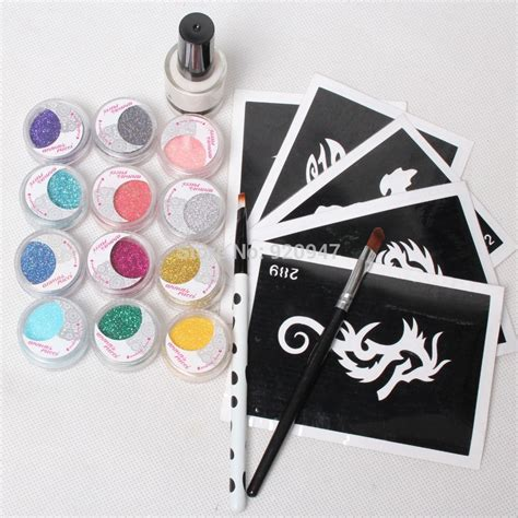 tattoo kits next day delivery 5 pcs stencils 12color glitter powder glue brushes