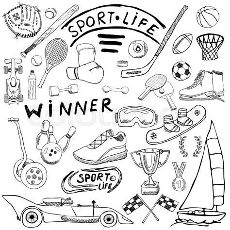 doodle sport sport sketch doodles elements set with